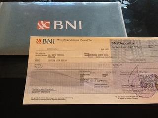 BNIの定期預金証書